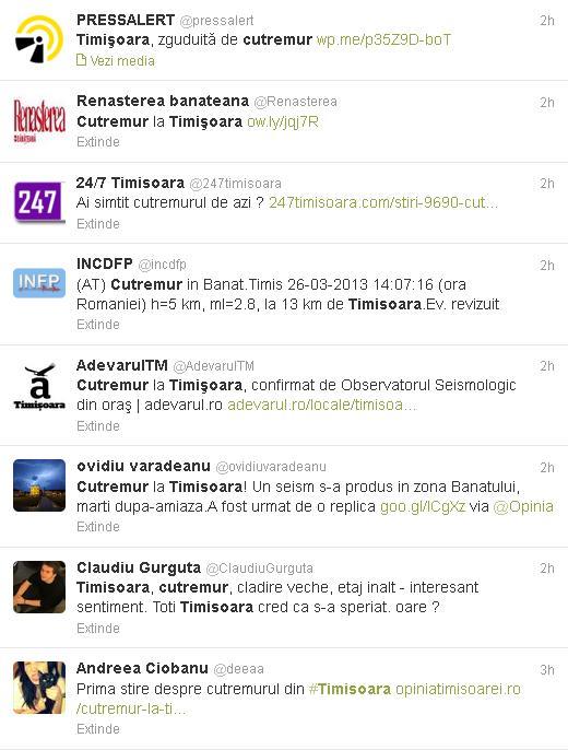A fost cutremur in Timisoara anuntat pe Twitter